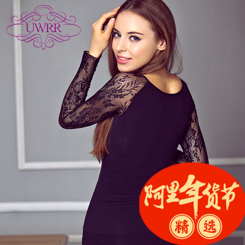 Uwrr custom round neck waist bottoming shirt long sleeve lace body shaping abdomen body sculpting underwear corset waist closing