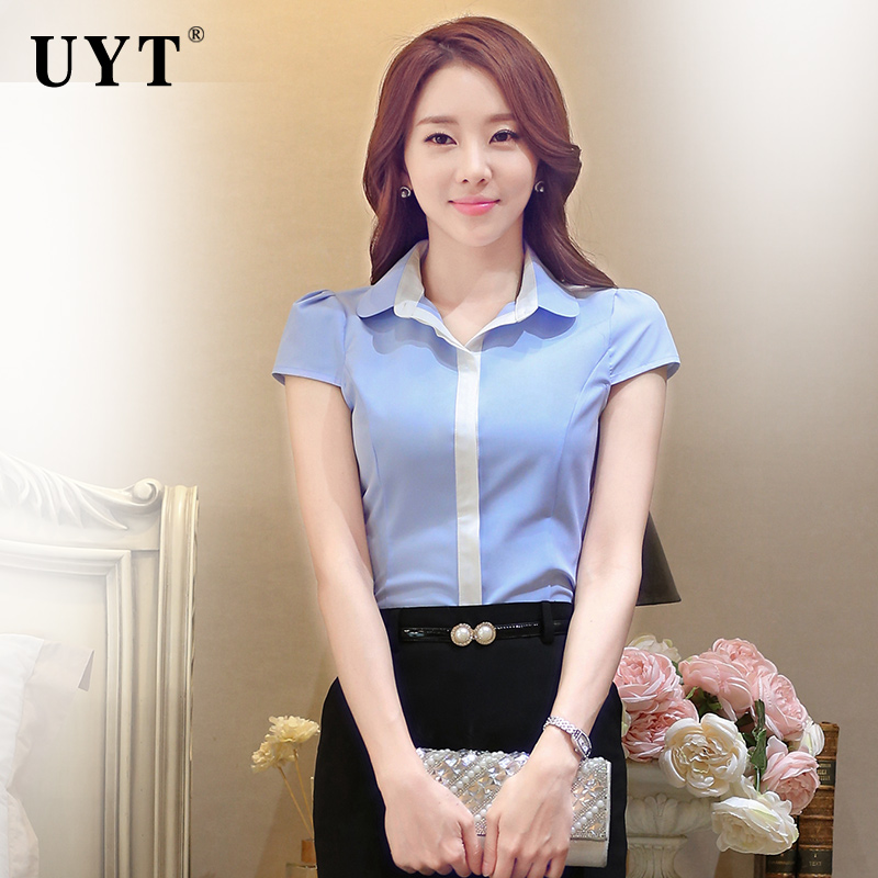 Uyt career puff short sleeve shirt new summer hit color shirt bottoming shirt dress uniforms ol white collar workers
