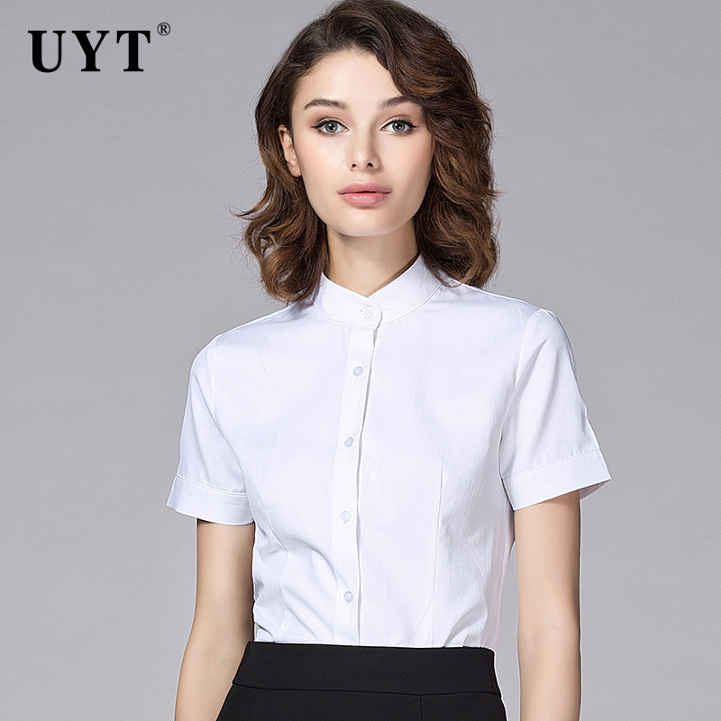 Uyt career woman short sleeve shirt slim collar shirt shirt female career suits ladies wear overalls suit