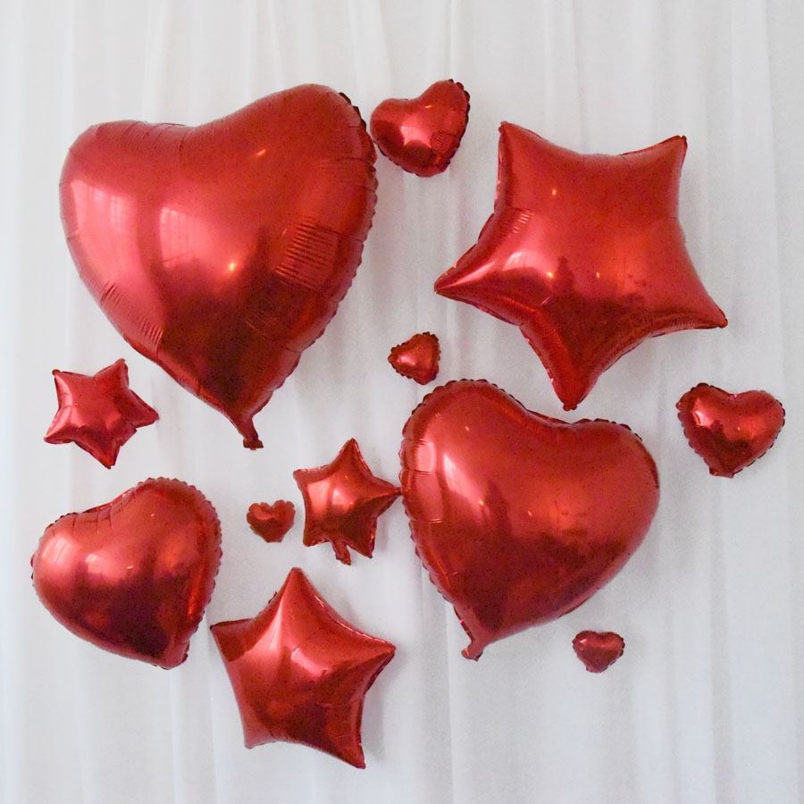 V07 red stars love flower shape notes birthday christmas wedding party celebration marriage room layout aluminum balloons