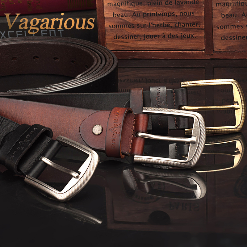 Vagarious cowhide business casual leather belt male pin buckle leather embossing alloy lap belt cowboy