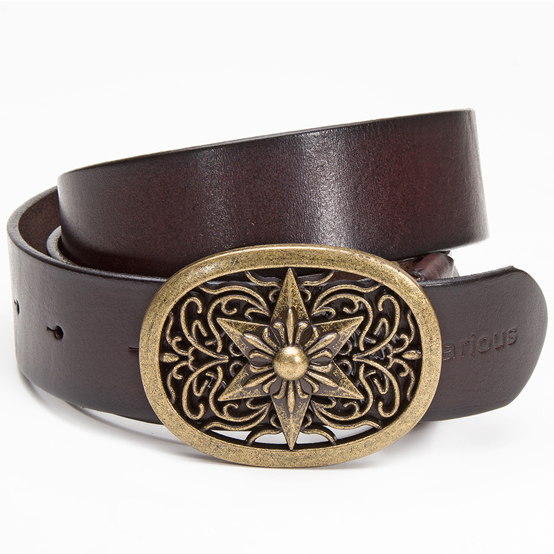 Vagarious young men's leather lead layer leather belt plate buckle belt leather belt men belt male pure leather belt