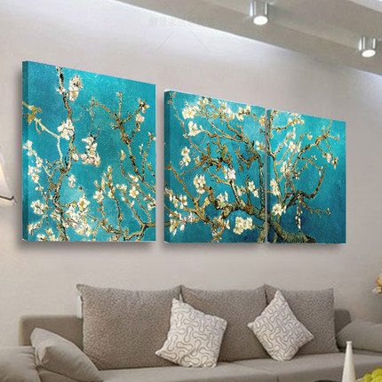 Van gogh painting decorative painting the living room decoration modern minimalist bedroom sofa backdrop mural paintings triple frameless