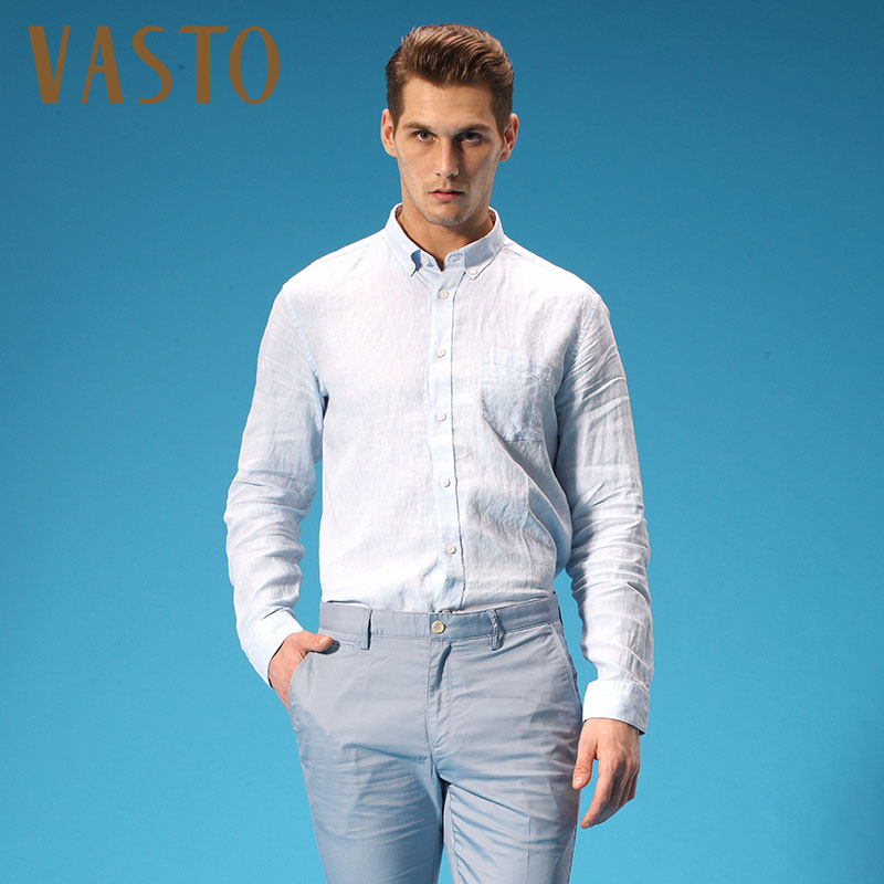 Vasto/vasto spring and summer long sleeve linen shirt 151304273