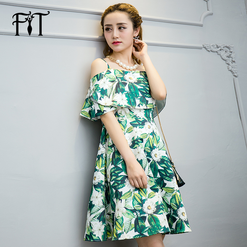 Get Quotations · Vatican figure beauty summer new wave of printing long  green dress word shoulder dress was thin 371601adbb65