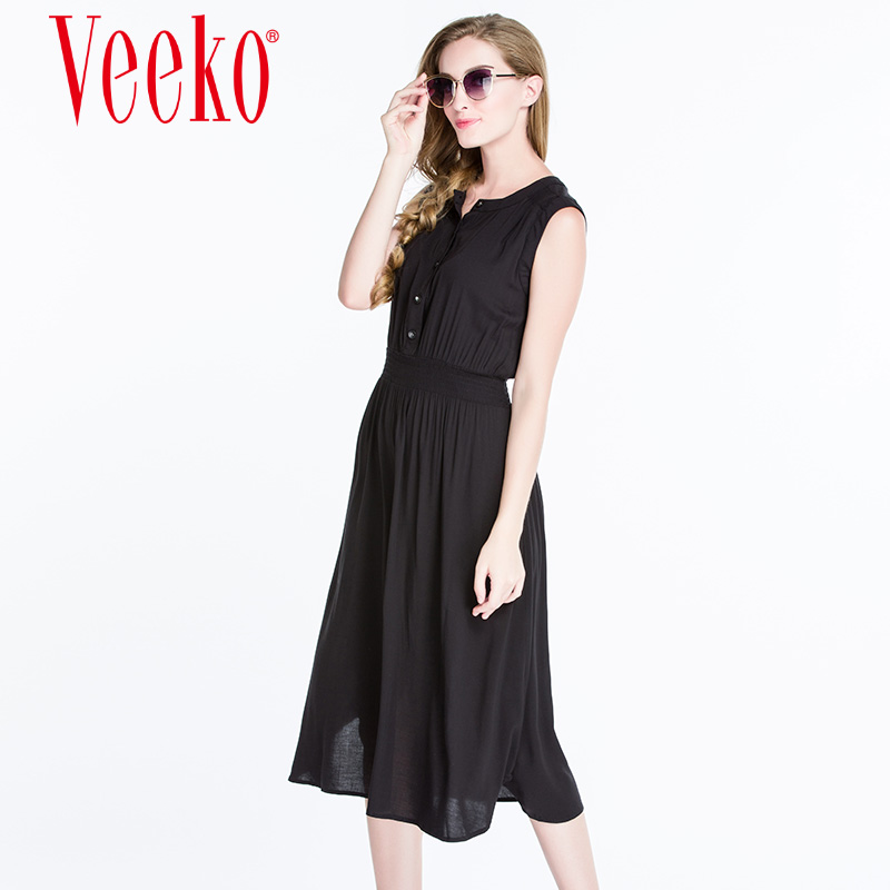 Veeko2016 summer new ladies casual slim solid color elastic waist round neck vest dress summer skirts