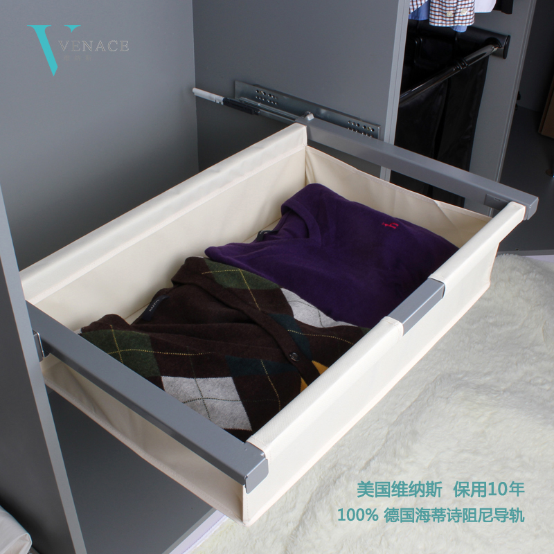 Venus shipping cloakroom cabinet telescopic sliding storage basket bag basket with hettich rail 2165