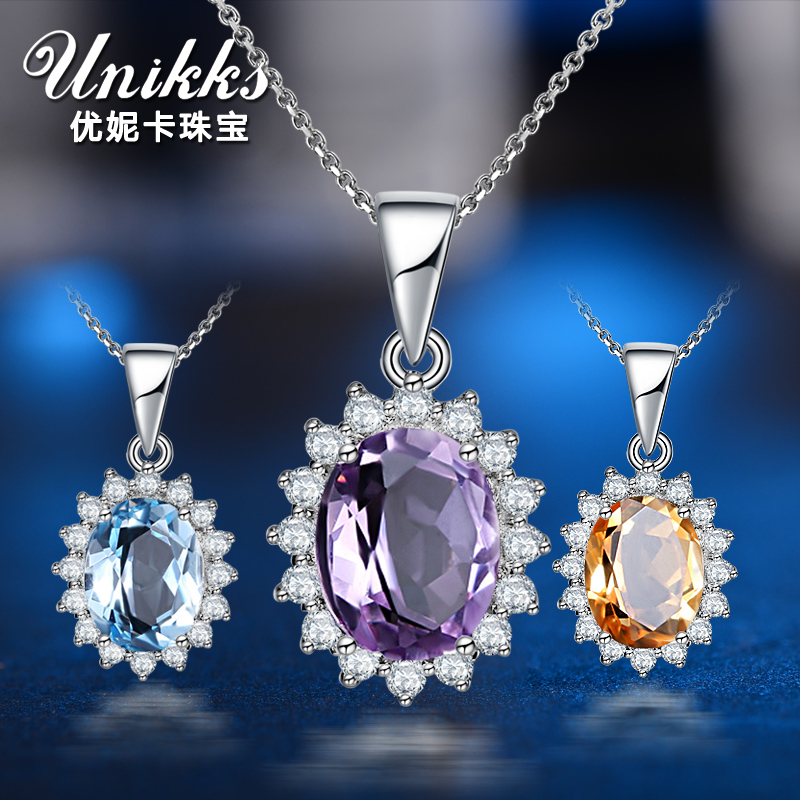 Veronica excellent natural amethyst citrine topaz pendant female pure 925 silver necklace short paragraph clavicle with jewelry silver jewelry