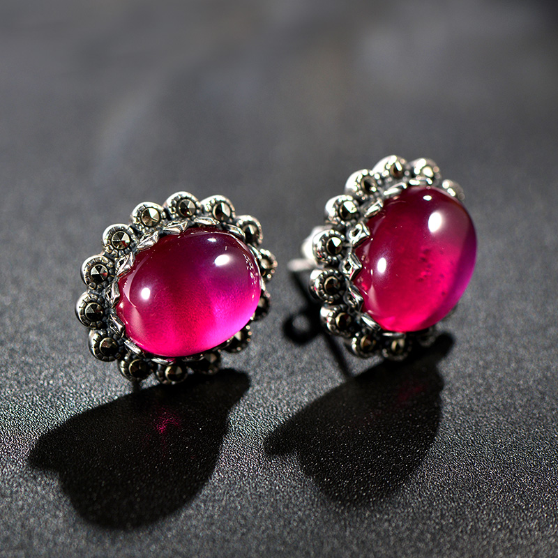 Very thai 925 synthetic red corundum thai silver earrings earrings earrings female national wind retro fashion sunflowers