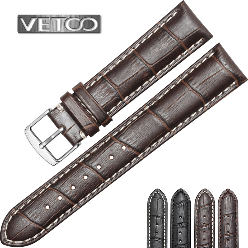 Vetoo calfskin leather strap male strap female pin buckle first layer of leather waterproof mido tissot longines omega replacement