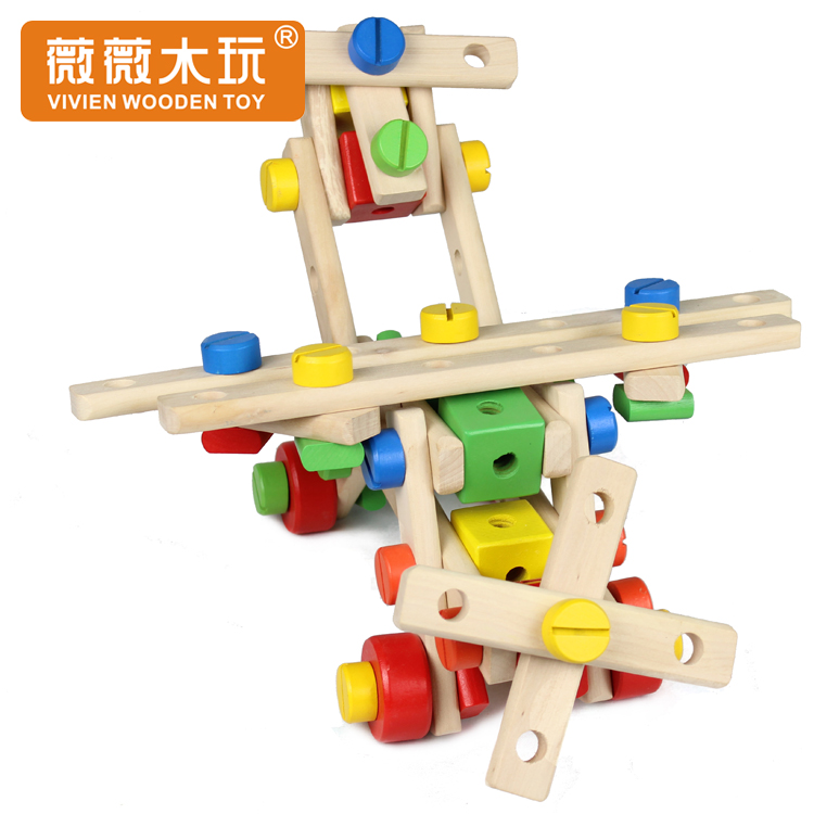Vicki wooden play 3-6 toys versatile nut combination disassembly children under the age of baby diy wooden removable