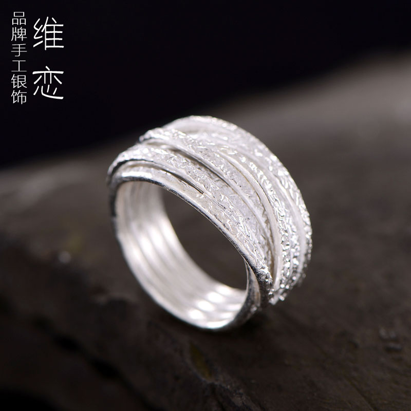Victoria love couple creative handmade retro ring finger ring 925 sterling silver rings ms. wide when shang joint ring widens