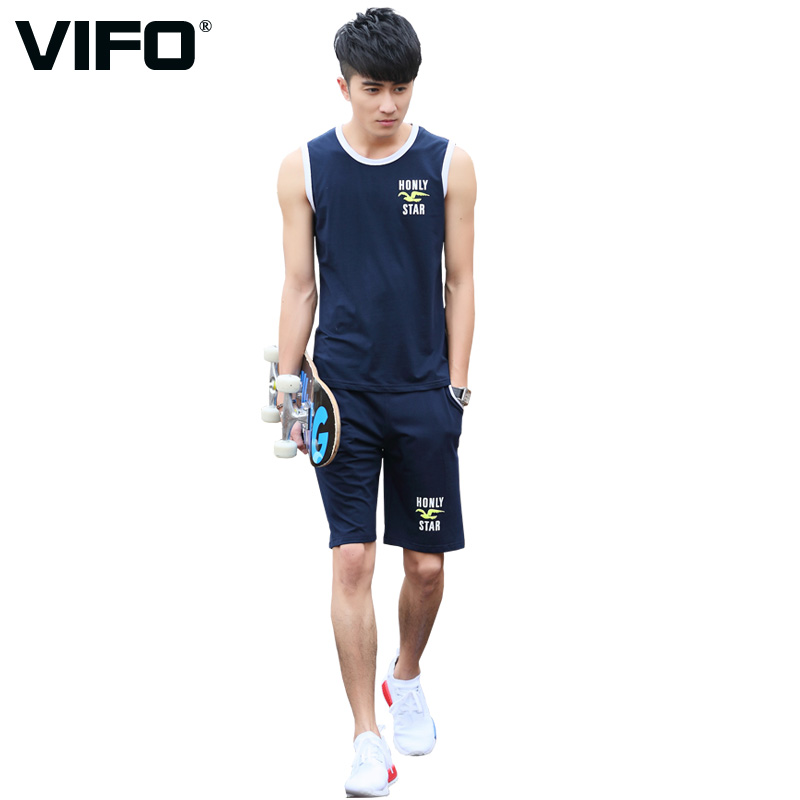 Vifo sleeveless sports suit male summer thin cotton vest shorts casual sportswear running fitness clothes suit