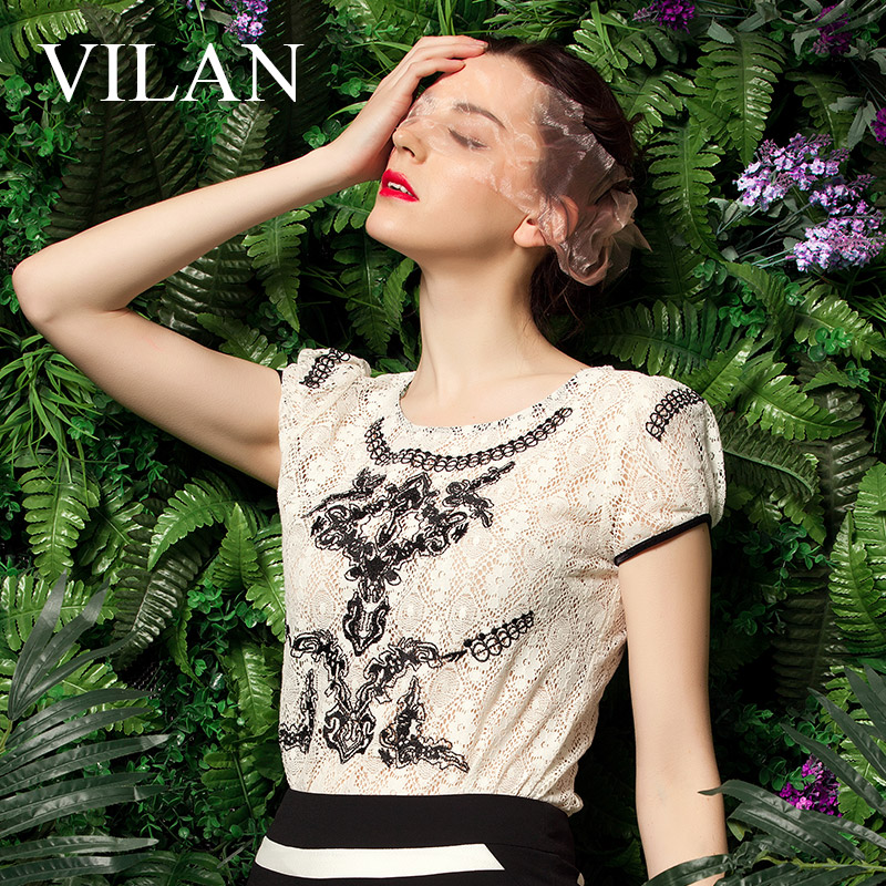 Vilan/huilan 2015 summer new authentic korean version of slim lace round neck printed cotton short sleeve t-shirt female