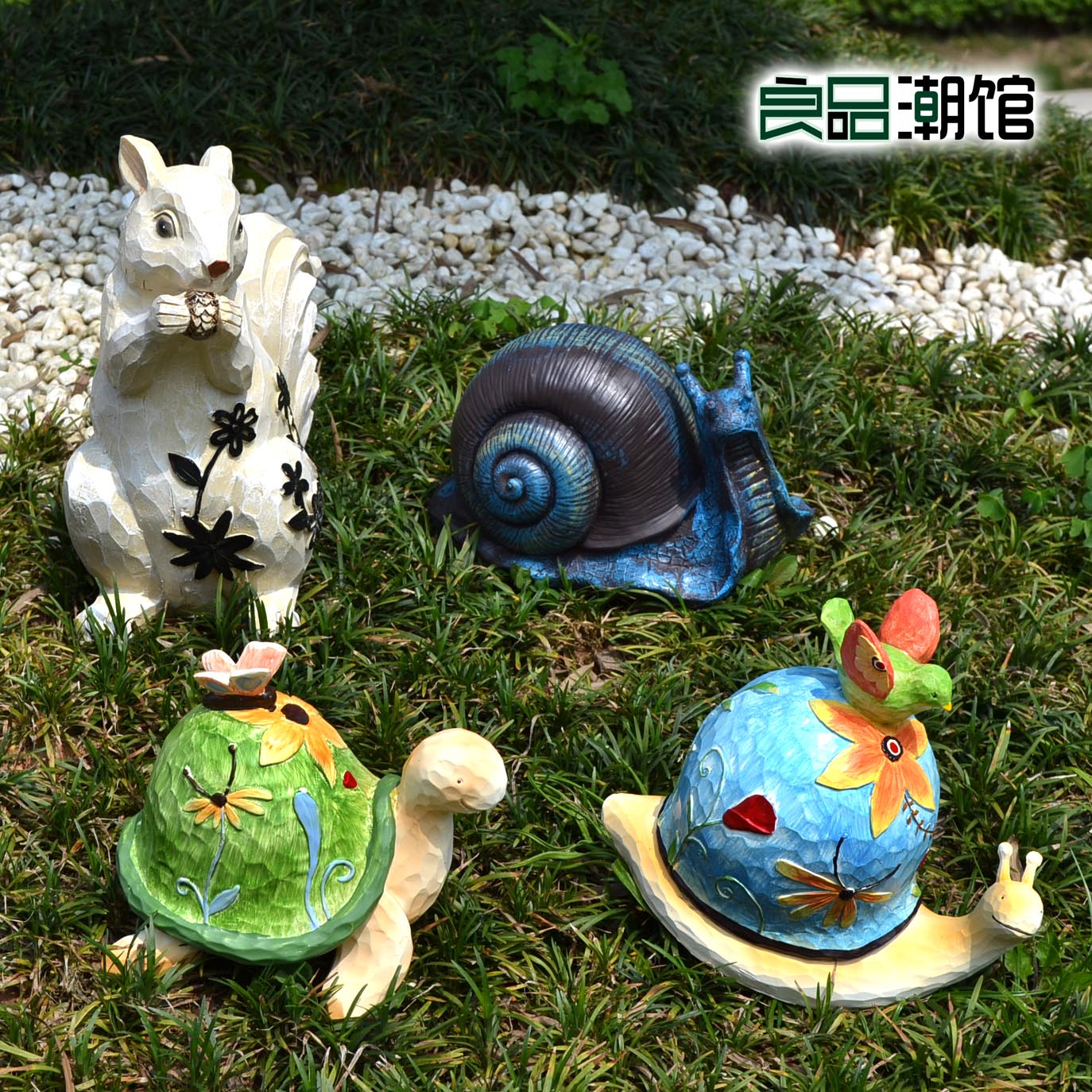 Villa courtyard garden nursery decor outdoor sculpture garden pine squirrel cartoon snail turtle landscaping ornaments