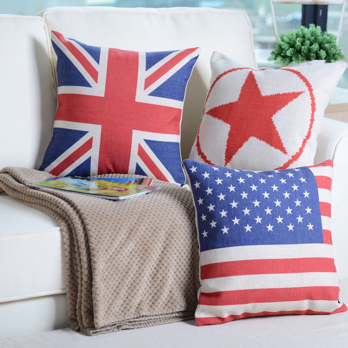 Village color cotton pillow is a union jack cushion core american village blankets air conditioning is cool in summer blanket flag