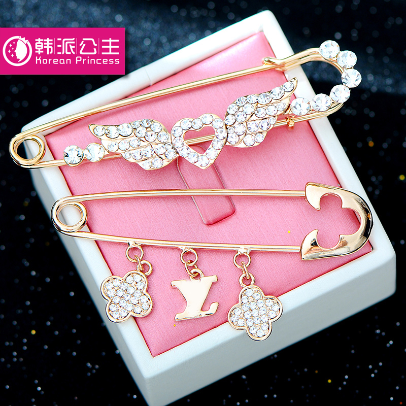 Vintage crystal butterfly brooch pin brooch large shawl scarf buckle dual buckle temperament female korean cute suit corsage