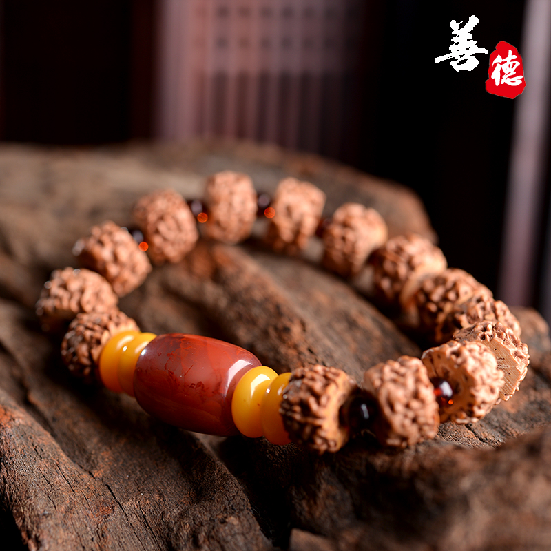 Virtue beeswax amber prayer beads bracelet bracelets king pu tizi diy southern red barrel bead bracelet male and female models