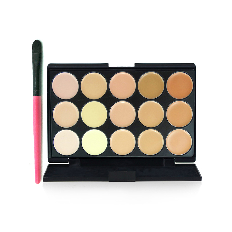 VOCE15 color concealer plate multicolor matte foundation cream concealer with a brush waterproof makeup free shipping