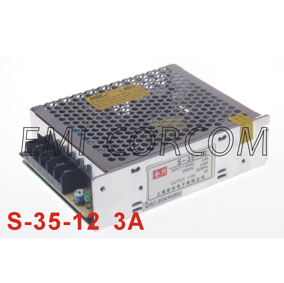 W switching power supply dc12v/3a ac to dc 12 v model s-35-12 lifetime warranty