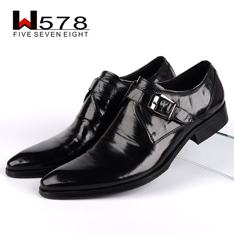 W578 leather men's shoes european version of the trend of men's leather shoes business shoes british style is fitted men's wedding shoes free shipping
