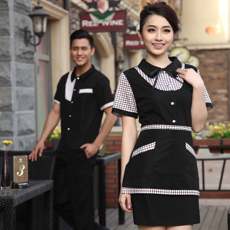 Waiter overalls sleeved work clothes hotel restaurant waiter overalls summer clothes for men and women overalls hotel