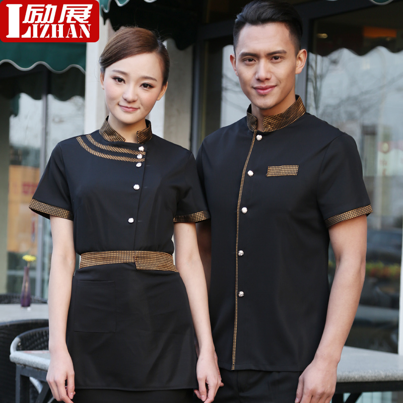 Waiter sleeved overalls hotel uniforms summer clothes for men and women pot shop hotel restaurant waiter clothing