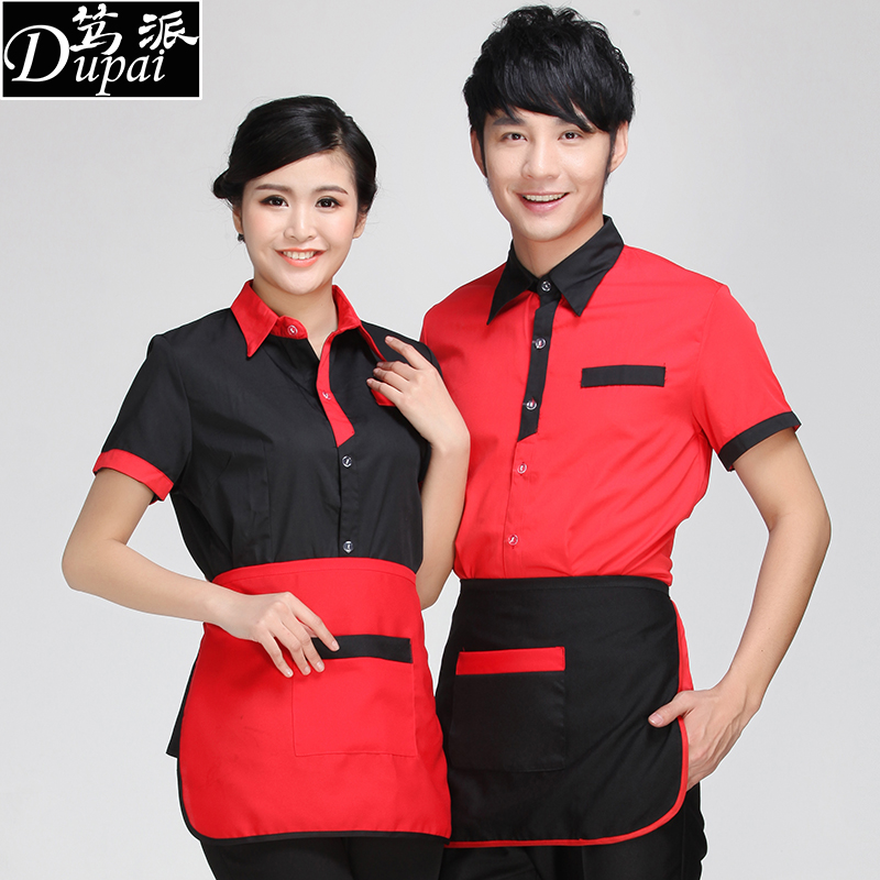 Waiter sleeved overalls hotel uniforms summer clothes for men and women pot shops hotel restaurant catering work uniforms