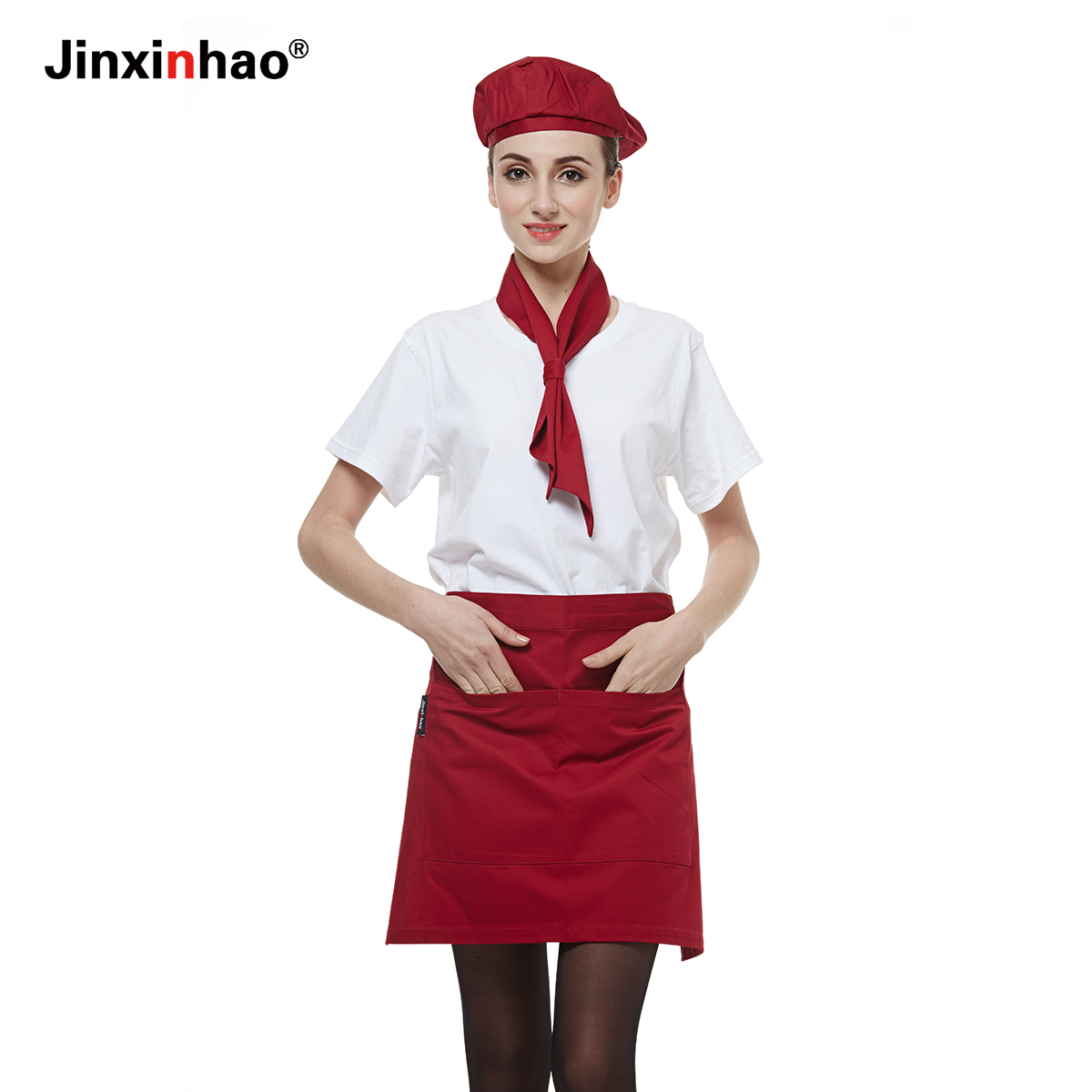 Waiter sleeved overalls suit summer t-shirt female fast food restaurant cafe catering uniforms custom aprons