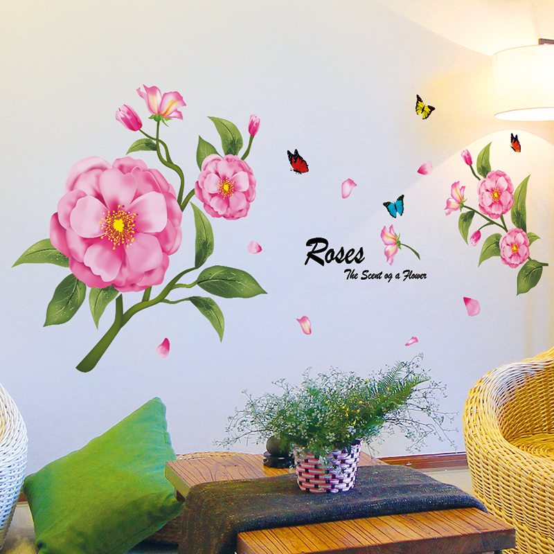 Get Quotations · Wall Decor Decal Sticker Wall Stickers Bedroom Bedside  Romantic Flower Flower Flower Creative Ink