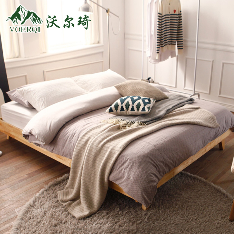 Wall qi nordic wood bed soft bed 1.8 m double bed oak bed marriage bed ikea fashion