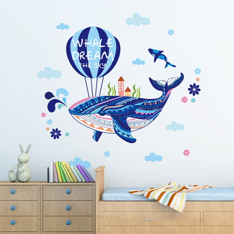 Wall stickers sticker bedroom children's room kindergarten classroom decorations whale day air balloon cartoon creative