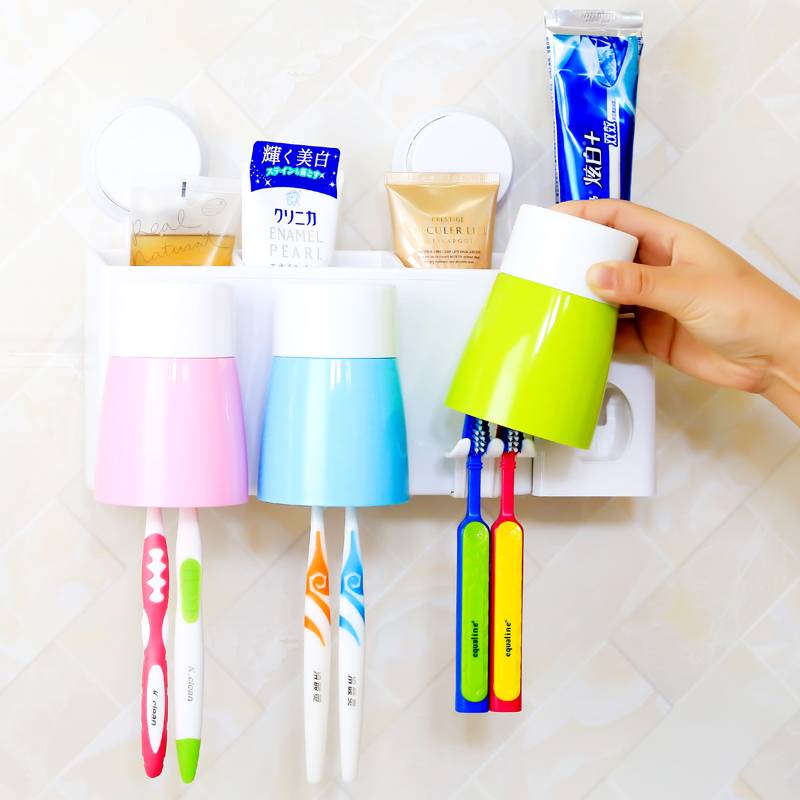 Wall suction cups wall suction toothbrush holder suits wash with automatic toothpaste dispenser couple brushing cup