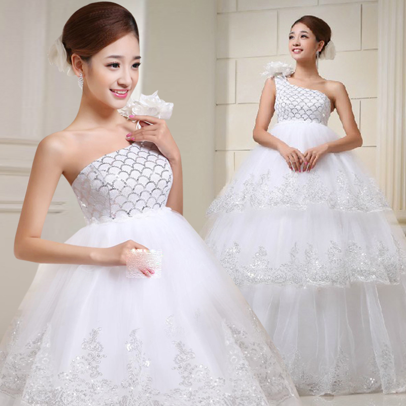 Wan yun yarn bride wedding white flower shoulder wedding dress qi wedding dresses wedding dress for pregnant women bandage after send panniers