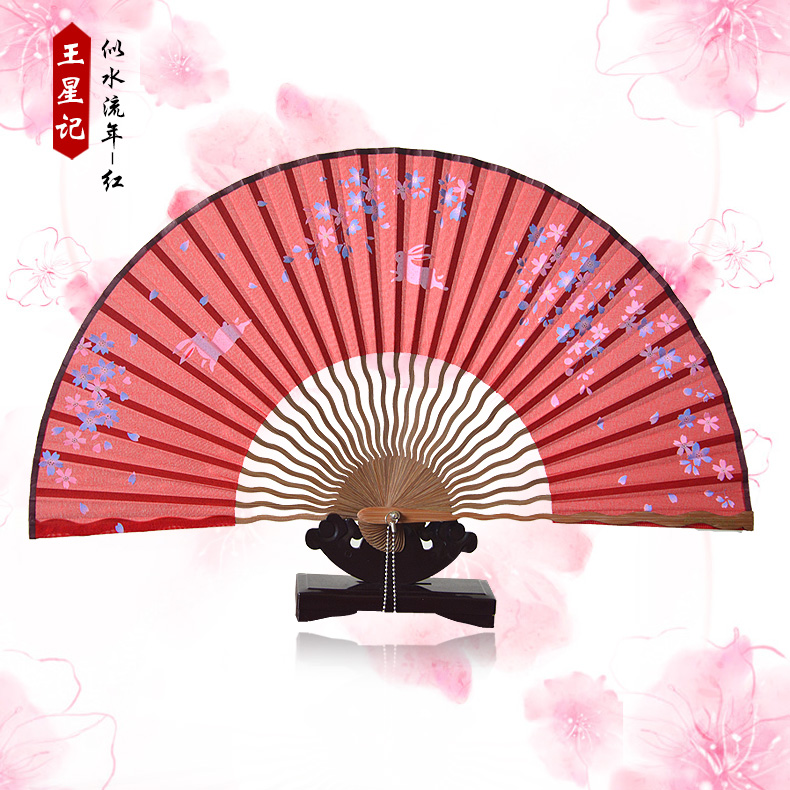Wangxingji silk classical chinese silk fan folding craft fan gift fan folding fan of japanese women zhushan shipping