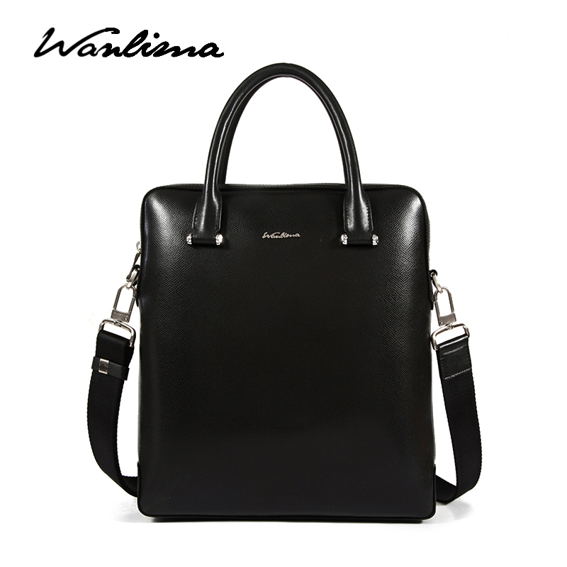 ca841a3bacb7 Get Quotations · Wanlima men s bags new man bag vertical section square  leisure pure leather messenger bag korean version