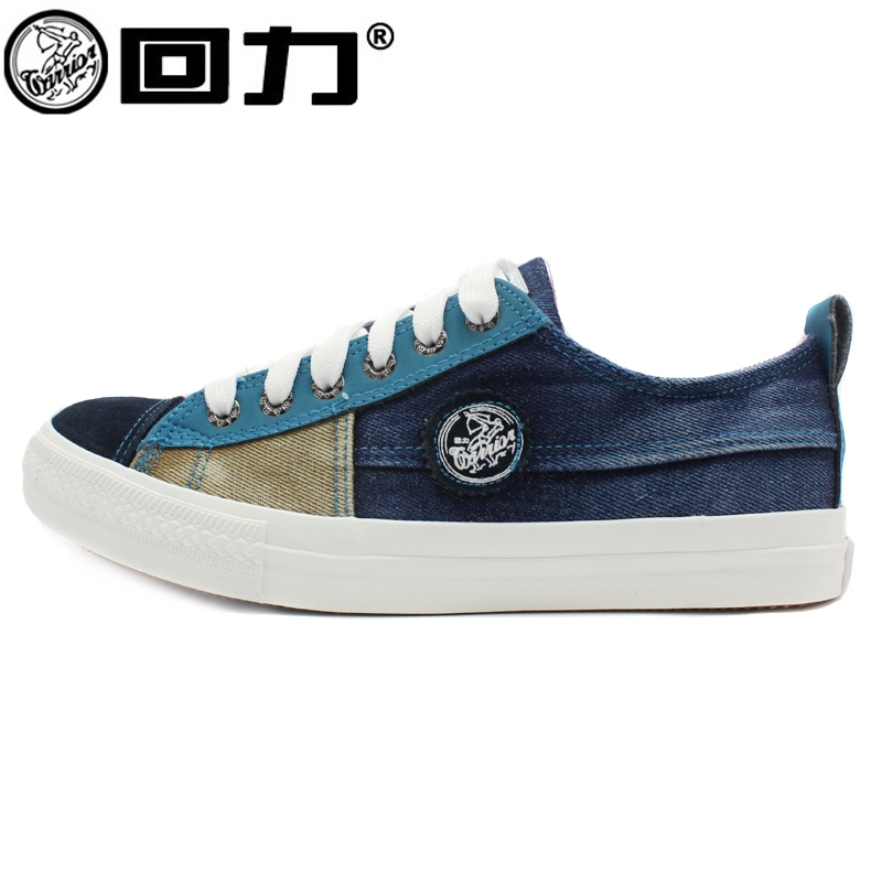 Warrior warrior couple canvas shoes denim canvas shoes lace mixed colors to help low canvas shoes for men and women