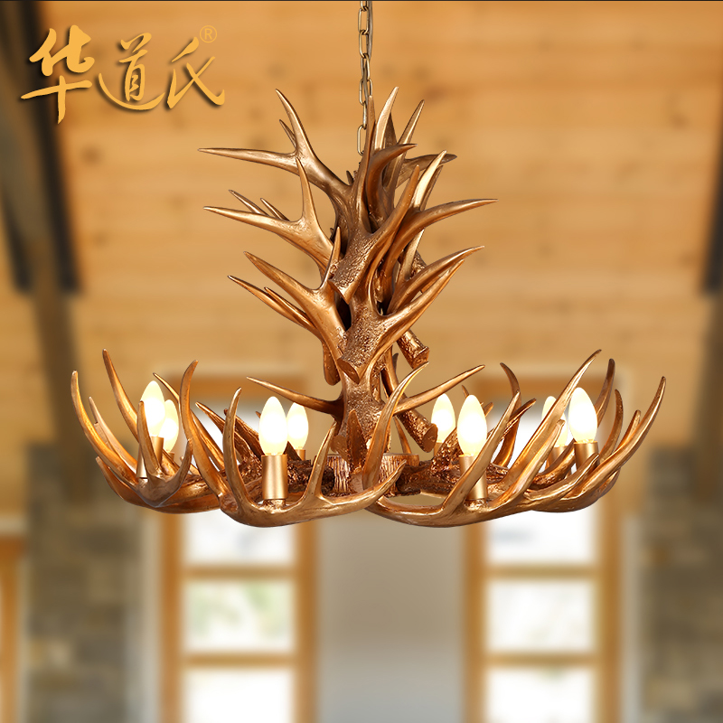 Wa's antler chandeliers american country living room bar creative personality retro art restaurant bar table lamp