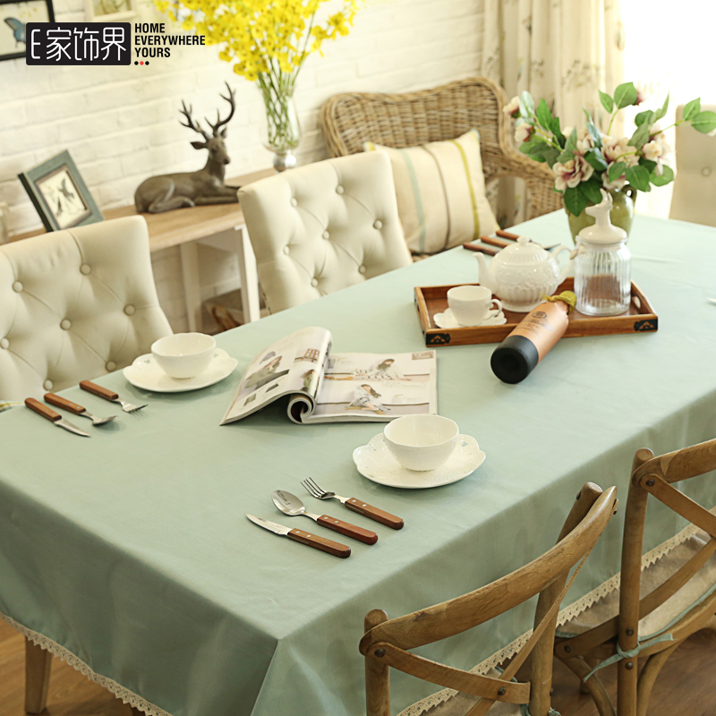Water blue and green plaid cotton solid color simple round tablecloth fabric table cloth pastoral coffee table cloth tablecloth can be customized