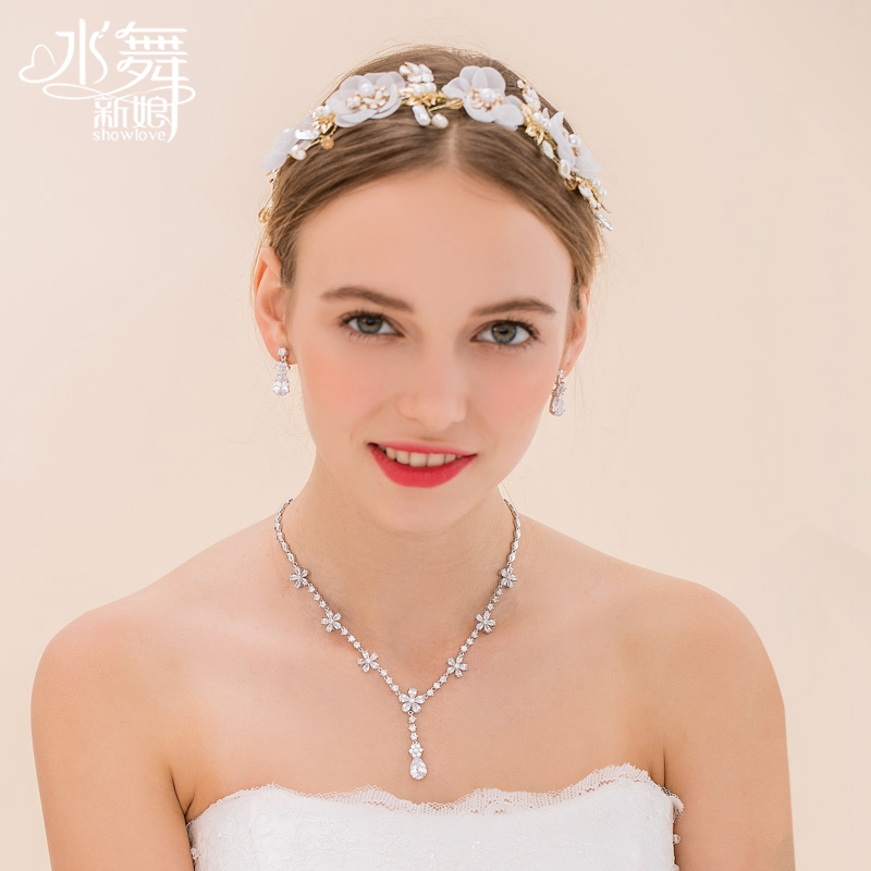 Water dance bride gold ceramic flowers pearl wedding tiara wedding necklace necklace set accessorise D0692