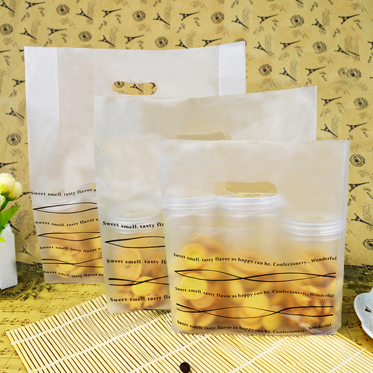 Watson tiancheng black stripes tote bags packing bags plastic bags takeaway food packaging bags bread bags 100