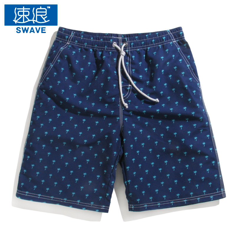 bcf5da83befe1 Get Quotations · Wave speed and beach pants men sugan blue palm print swim  trunks swimming trunks swimming trunks