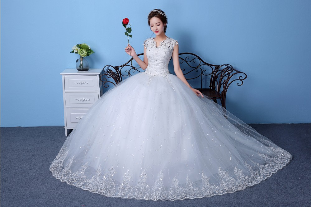 Wedding dress 2016 new korean qi word shoulder wedding korean bride wedding dress vintage wedding dress tutu dress simple