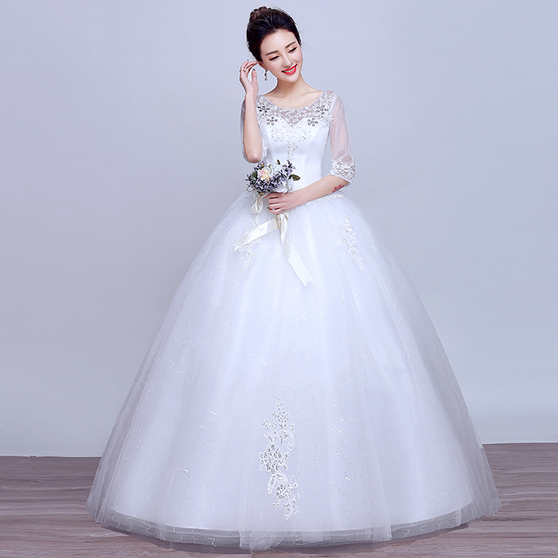 Wedding dress 2016 new korean yards slim was thin bride wedding qi word shoulder wedding dress for pregnant women in autumn and winter