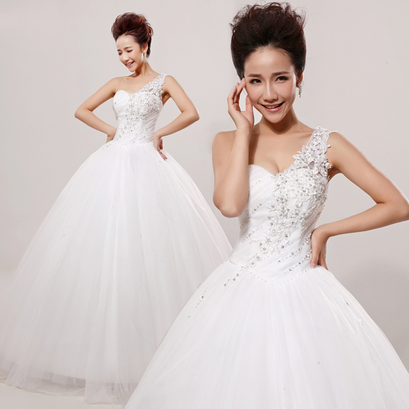 Wedding dress new 2015 wedding dress lace wedding dress new word shoulder wedding dress tutu