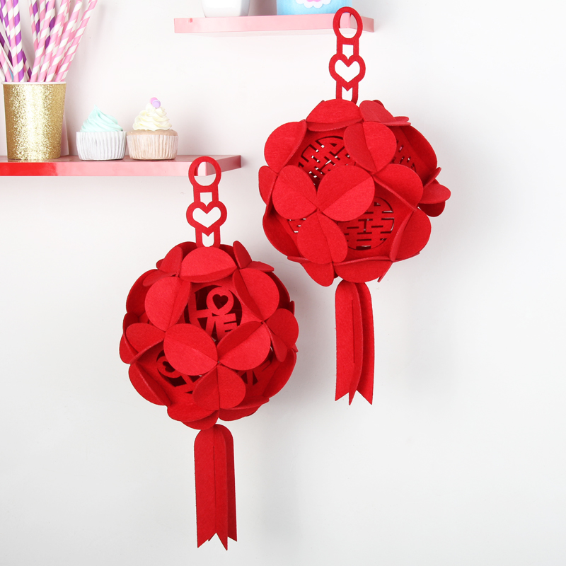 Wedding marriage room layout creative decorative lanterns wedding wedding supplies flannel red hydrangea flower ball ornaments suit
