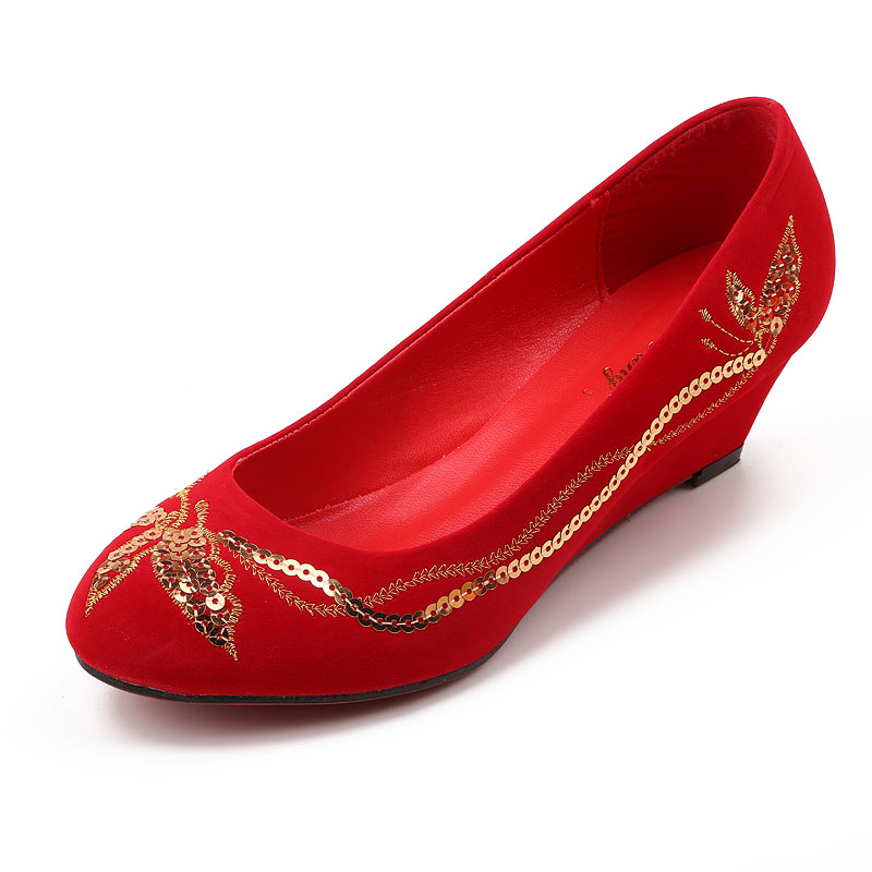 Wedding shoes wedding shoes dress shoes red wedding shoes bridal shoes slope with red sequined princess shoes