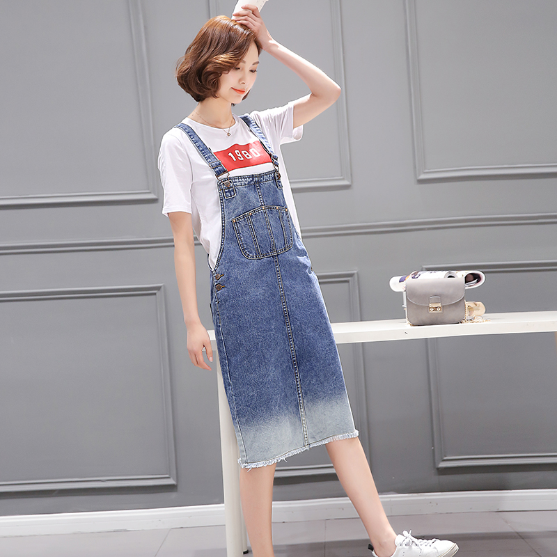 Week in and week wind color camisole 2016 summer women new t-shirt + denim skirt fashion suit by age