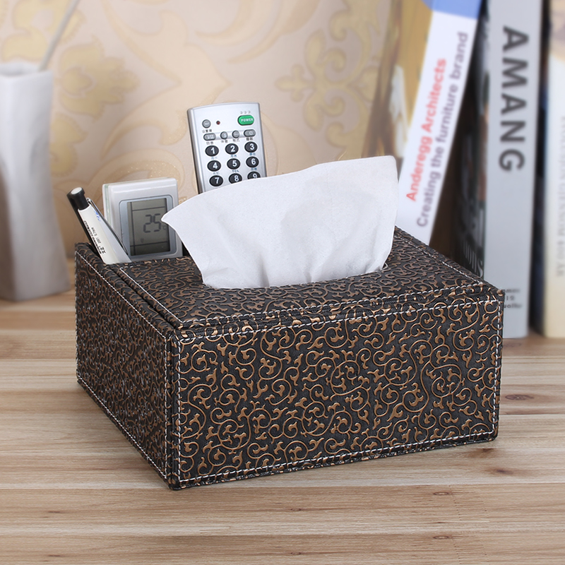 Wei maiqi multifunction leather tissue box mobile air conditioning remote control tv remote control storage box black golden eagle pattern