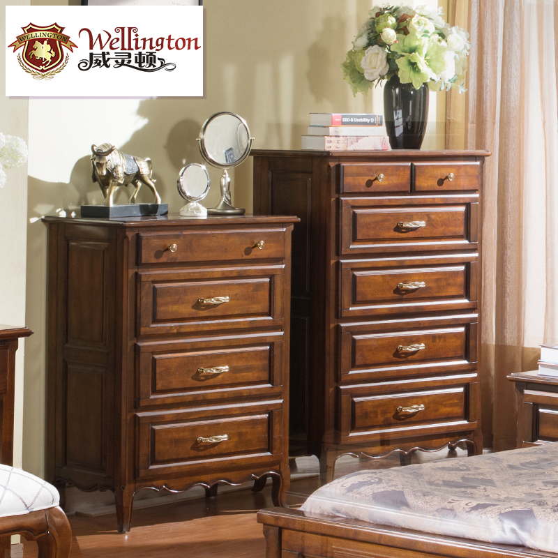 Wellington euclidian american country wood chest of drawers six doo doo cabinet storage cabinets lockers retro locker R602-8